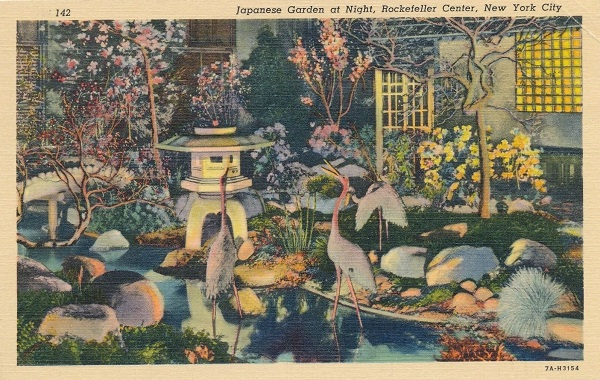 Japanese Garden at Night Rockefeller Center Postcard New York City