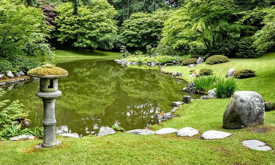 Stone Lantern and Pond at Nitobe Memorial Garden